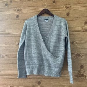ANOTHER STORY SWEATER GREY FAUX WRAP SOFT LAYER